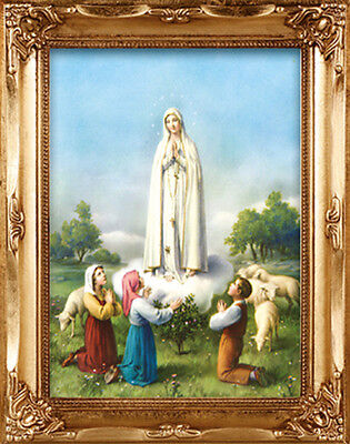 Our Lady Of Fatima Gold Framed Picture - Statues Candles Crucifixes Also Listed