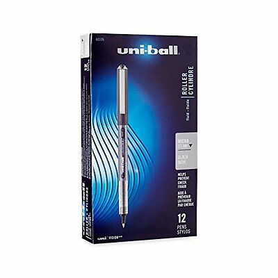 Uni-Ball Rollerball Stick Pens Micro Point Black Ink 12-Count, New