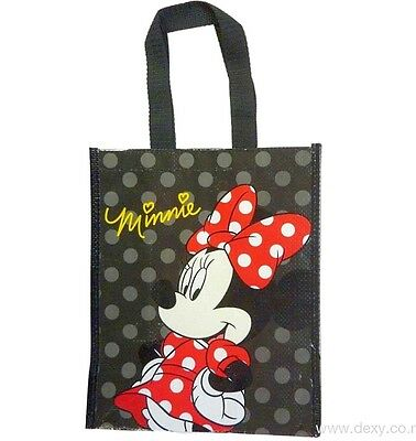 1 Sac Shopping Minnie Mouse 30 X 25 Cm Pvc Noir Rouge Disney