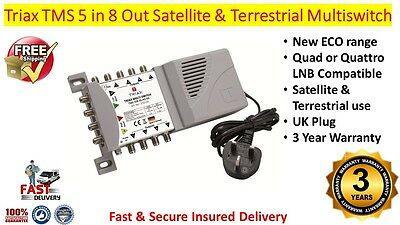 Triax TMS 5 in 8 Out Satellite & Terrestrial Multiswitch Quad Or Quattro LNB