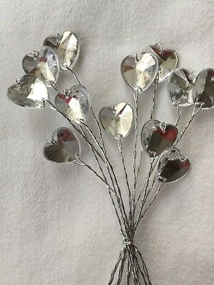 12 Wire Stem Acrylic Diamante Heart Christmas / Wedding Flowers Floral crafts
