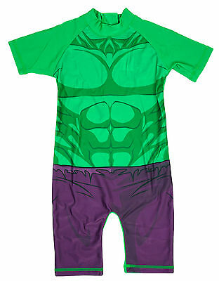 Boys Incredible HULK All in One Sunsafe Surf Swimsuit Costume 1.5 to 5 Years