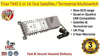 Triax TMS 5 x 16 Satellite & Terrestrial Multiswitch Quad Or Quattro LNB