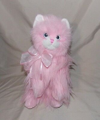Ty Classic MUFFET Cat Kitty Pink White Plush Stuffed Animal 2007 silk bow