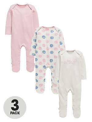 Ladybird Pack Of Three Princess Polka Dot Sleepsuits in Pink Size 18-24 Months