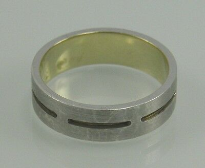 9ct .375 yellow gold & .925 sterling silver wedding band ring size R 8 ¾