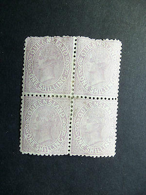 Queensland Queen Victoria 1 Shilling Stamps,Block of 4,Unused Hinged with Remain