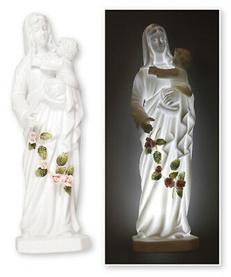 MARY OUR LADY MADONNA AND CHILD PORCELAIN STATUE LED LIGHT 100's OF ITEMS LISTED