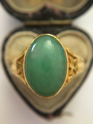 Oriental Chinese Large Jade 22ct Yellow Gold Ornate Detail Marquise Ring Vintage