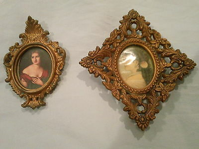 2 Vintage Small GOLD Framed  Portraits - LOVELY LADIES Pictures