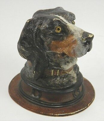 Antique late 19th century cold painted bronze figural dog head inkwell