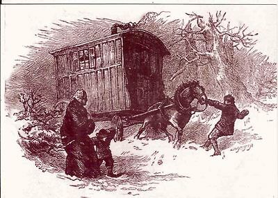 Romany Gypsy Traveller sepia pc 1870s heavy ribbed wagon vardo snow Christmas