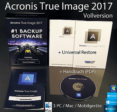 Acronis True Image 2017 Vollversion 3 PC/Mac Box, CD + Universal Restore OVP NEU