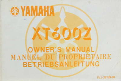 1985 Moto Yamaha  Xt 600 Z   Owner's Manual En Multilangues