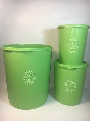 Set 3 Vintage Tupperware Nesting Canisters with Servalier Lids Lime APPLE GREEN