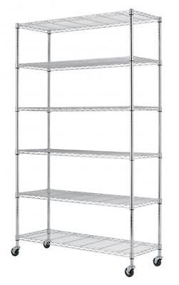 "CHROME 82""x 48"" x 18"" 6 Tier Layer Shelf Adjustable Wire Metal Shelving"
