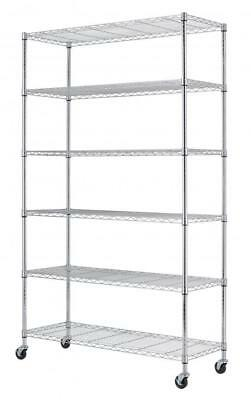 "Chrome 82""x 48"" x 18"" 6 Tier Layer Shelf Adjustable Wire Metal Shelving Rack"