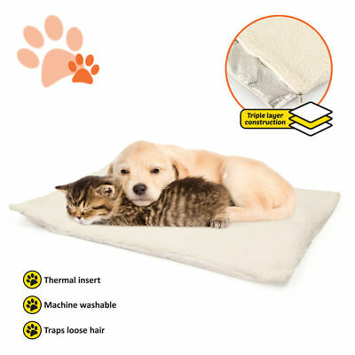 Self Warming Pet Bed Cushion Pad Dog Cat Cage Kennel Crate Soft Cozy Mat New