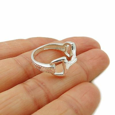 Horse Snaffle 925 Sterling Silver Riding Bit Ring Size L