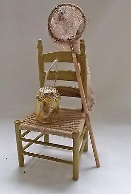 Dolls house miniature Aged Green Shabby Chic Butterfly Net, Jar and Chair Set