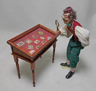 Dolls house miniatures Snuff Box Collectors Table