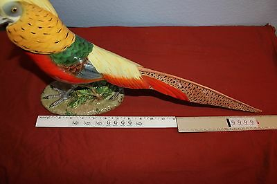 "1940's/50's-LARGE Majolica GOLDEN PHEASANT FIGURINE-12""x20""-SIGNED-12/33-Italy"