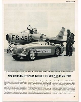 1954 Austin Healey 100 Sports Car Republic F-84F Thunderstreak Jet Vtg Print Ad
