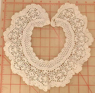 """Vintage white ruffled cotton lace collar with button 21"""" length flower blouse"""