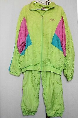 Vintage 80s 90s Neon Bright Nylon Shell Full Tracksuit Track Jacket + Bottoms XL