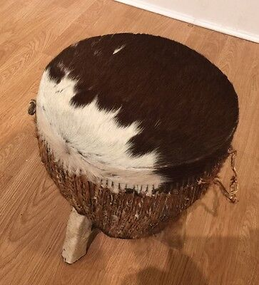 Mid Century Vintage Cowhide Leather Stool Ottoman Drum Side Table Display Stand