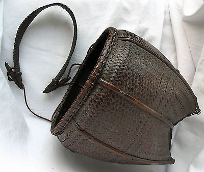 OUTSTANDING THAI HILL TRIBE  BASKET CULTURAL ARTIFACT MID 20th C