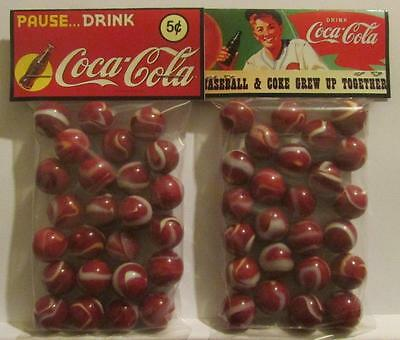 2 Bags of Pause Drink Coca Cola Advertising Promo Marbles