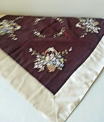VINTAGE SILK RIBBON EMBROIDERED MULTI FLORAL flower TABLE CLOTH