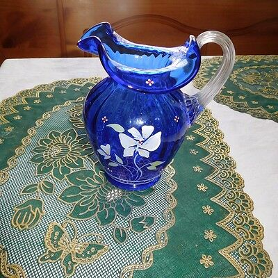 Fenton Cobalt Blue Hand Painted Glass Pitcher With Clear Glass Applied Handle