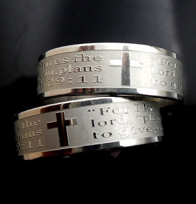 wholesale 30 etch Jeremiah 29:11 bible cross Stainless steel Rings  Jewelry lots