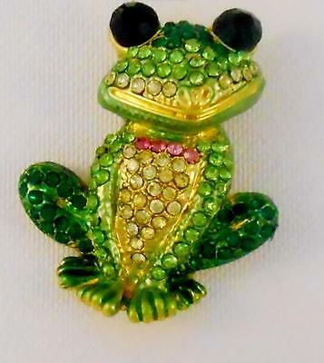 Frog Pin Brooch Sitting Froggy Embellished w Crystals