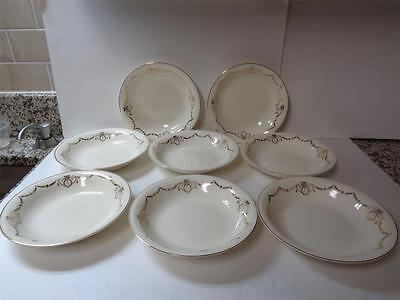lot 8 Edwin M Knowles Adams Gold Swag 7.75in Coupe Soup Bowls 44-2 Semi Vitreous