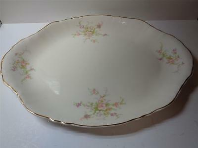 Homer Laughlin oval 15x11 inch Serving Platter tray Pink Purple floral Gold Trim