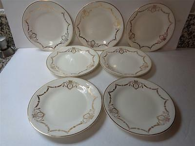 lot of 7 Edwin M Knowles Adams Gold Swag 6in Dessert Plates 44-2 Semi Vitreous