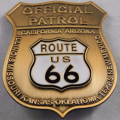 Quality Route 66 Official Patrol Badge Bronze  Made In USA