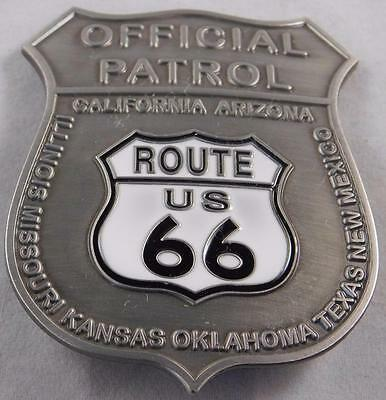 Quality Route 66 Official Patrol Badge Silver Plated  Made In USA