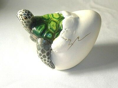 Baby Turtle Tortoise Hatching from Egg Figurine signed by Artist