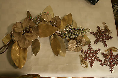 3 Snowflake ORNAMENTS & NWT Swag gold Floral ACCENT Christmas DECORATIONS
