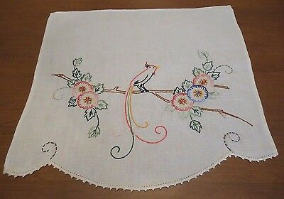 Vintage Embroidery Table Runner Dresser Scarf Doily Bird of Paradise
