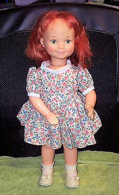 "Vintage 1971 Ideal Play 'N Jane 16"" Battery Operated Doll Red Hair Green Eyes"