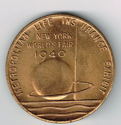 1940 NEW YORK WORLD FAIR METROPOLITAN LIFE INSURANCE COMPANY MEDAL 32mm NICE!