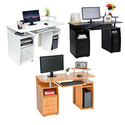 Wooden Corner Computer Desk PC Table Writing Workstation Home Office Furniture