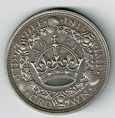 Great Britain 1931 Crown King George V Silver Coin Nice Grade