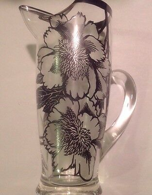 SILVER OVERLAY GLASS MARTINI PITCHER WITH GLASS STIR ROD (K-A) Ships Free