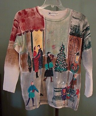 Marguerita Hand Painted 100% Cotton Sweater Christmas Shoppers Street Scene S M